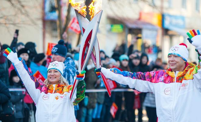 Эстафета олимпийского огня в Чебоксарах