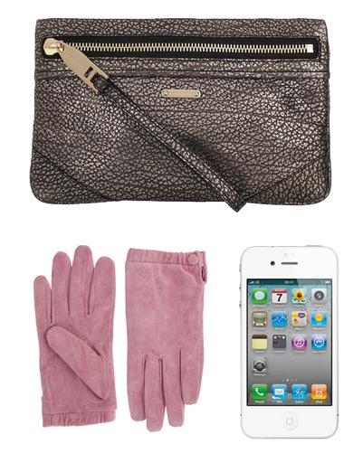 Клатч Burberry, перчатки Asos, телефон iPhone 4