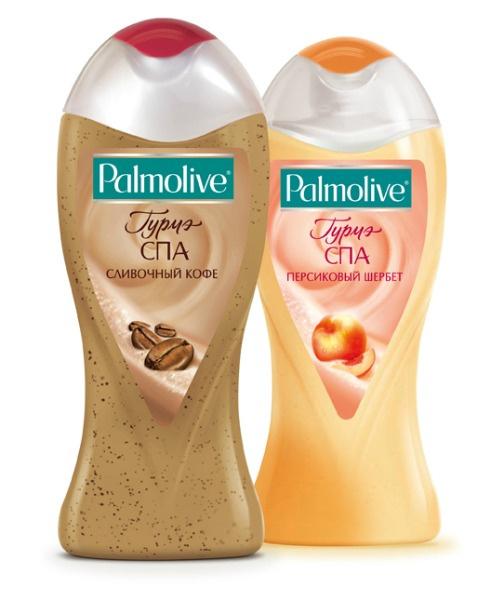 крем-гели для душа Palmolive сливочный кофе и персиковый шербет