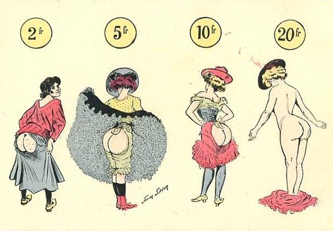 А вот еще одна открытка иллюстратора Ксавьера Сагера, более фривольная по содержанию.