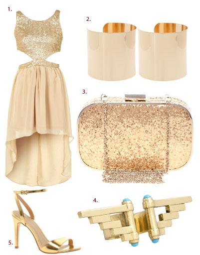 1. Платье Topshop; 2. браслеты Asos; 3. клатч Oasis; 4. кольцо Pamela Love; 5. туфли Asos