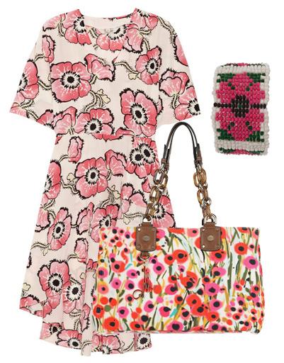 Платье Tucker, сумка Milly, браслет из бисера Asos