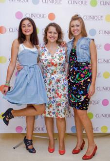 Ведущие мероприятия, представители марки Clinique: Карина Асоян, Лидия Бондаренко и Юлия Верезей