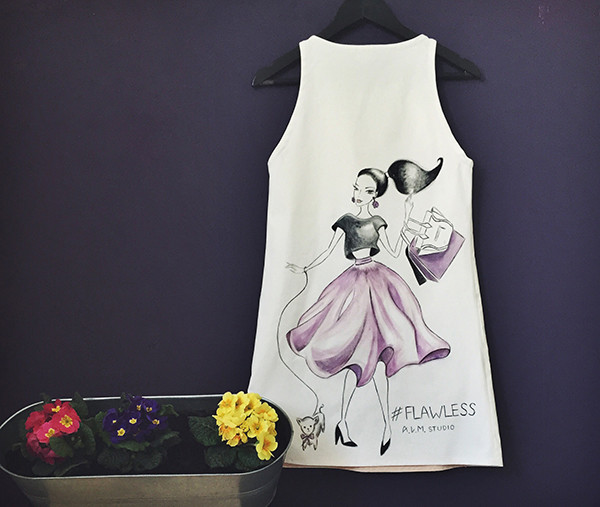 Платье длины миди, дизайнерские вещи