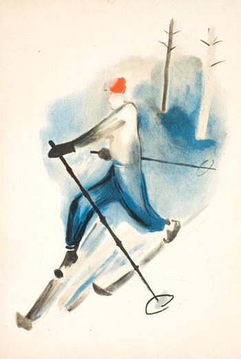 Лыжник, Кулешов И.Д. Литография, 1929 год