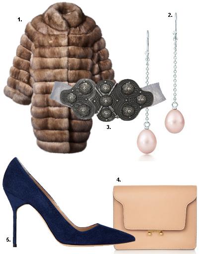 1. Шуба из соболя Braschi; 2. серебряные серьги с жемчугом Tiffany & Co; 3. пояс BASHARATYAN V; 4. клатч Marni; 5. туфли Manolo Blahnik
