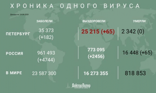 Фото №1 - За сутки в Петербурге выявили 182 новых случая заражения коронавирусом