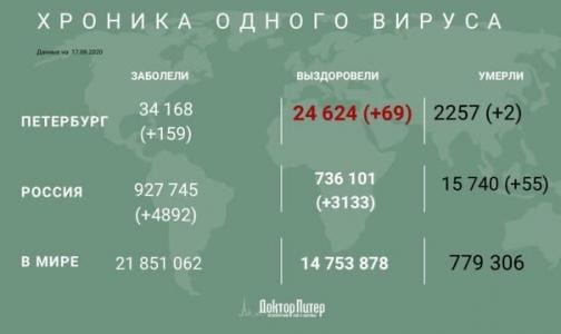 Фото №1 - За сутки коронавирус выявили у 159 петербуржцев
