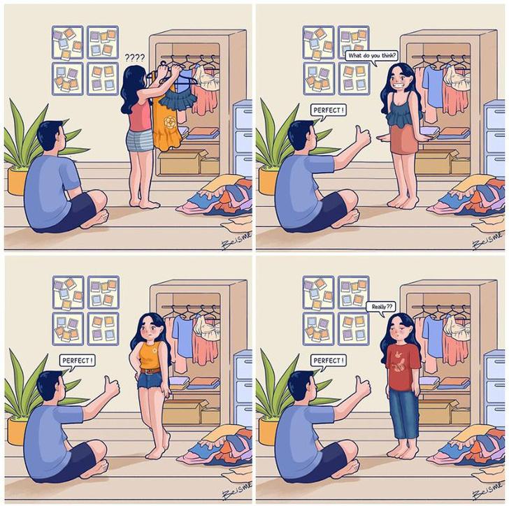 Фото №3 - Пользователь исправил чужой комикс про девушку, выбирающую, что надеть, и заслужил одобрение Интернета
