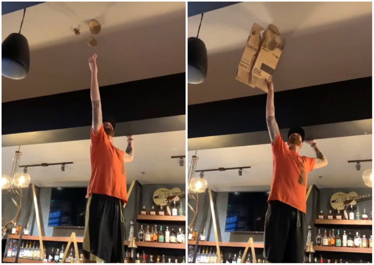 Фото №1 - Бармен пытается снять прилипший к потолку лифчик (видео)