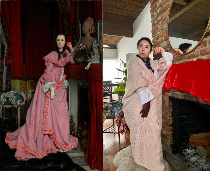 Фото №11 - Люди в карантине копируют шедевры живописи из всего, что под рукой: 13 удачных работ