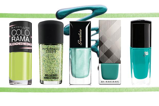 Лак для ногтей Bleached Neons, Colorama by Maybelline NY; лак для ногтей, Kale Salad, M.A.C; лак для ногтей La Lacque Couture Blue Ocean, Guerlain; лак для ногтей Aqua Green, Burberry; лак для ногтей 383M Blue Mint, Lancôme
