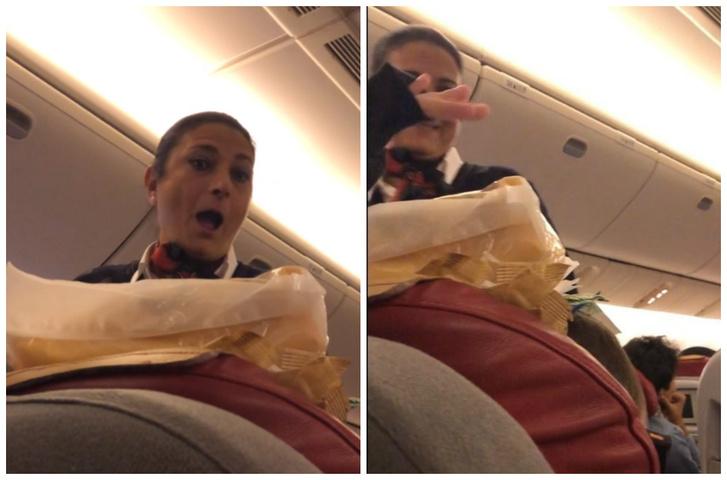 Фото №1 - Пассажирка в самолете подшутила над спящим братом, и неожиданно розыгрыш поддержала бортпроводница (видео)