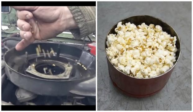 Фото №1 - Эксперимент от русских мужиков: приготовить попкорн автомобилем (видео)
