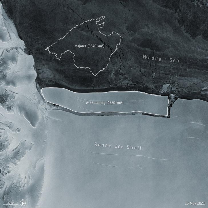 Фото №1 - От Антарктиды откололся гигантский айсберг