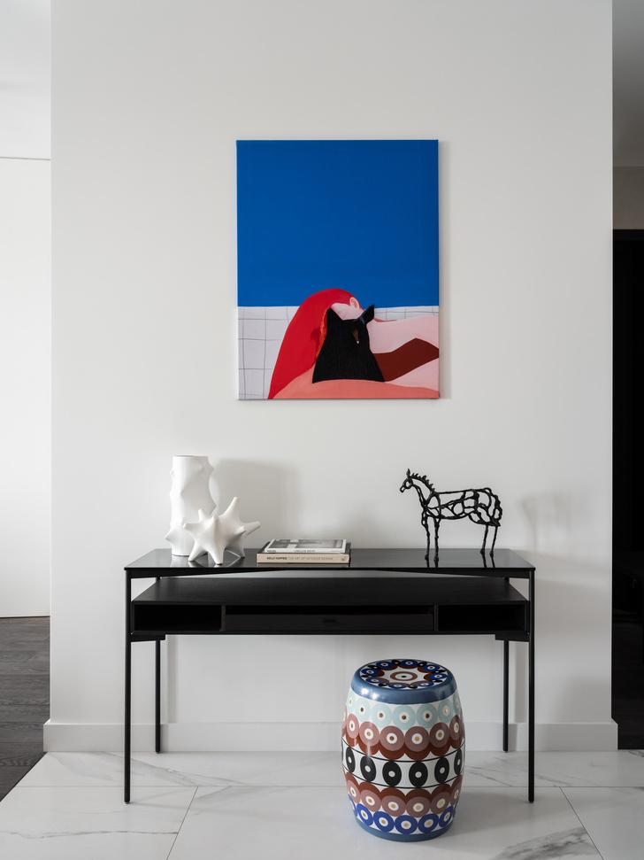 Фото №7 - Московская квартира 120 м² с красно-синими акцентами