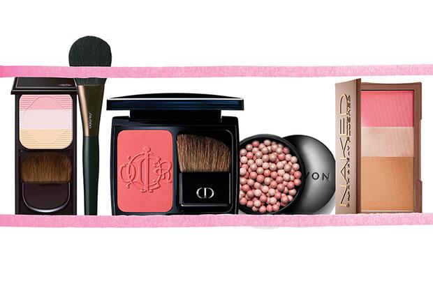 Пудра Face Color Enhancing Trio, Shiseido; кисть для нанесения пудры, Shiseido; румяна Diorblush Kingdom of Colors, Dior; пудра-шарики, Avon; мультифункциональные румяна Naked Flushed, Urban Decay