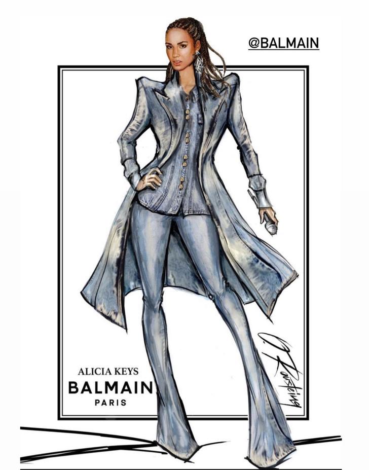 Фото №2 - Кутюрный деним: как выглядит джинсовая двойка, сшитая на заказ для Алиши Киз