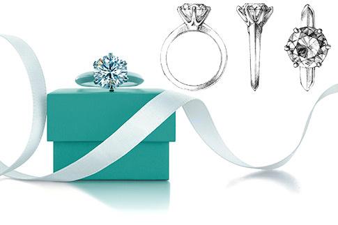 Кольцо Tiffany Setting; эскиз кольца Tiffany Setting.