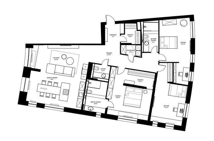 Фото №17 - Минималистская квартира в доме с радиусной планировкой