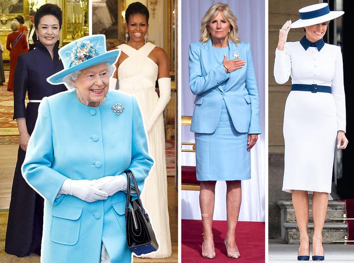 Фото №1 - От модных провалов до побед: как Первые леди одевались на встречи с Королевой