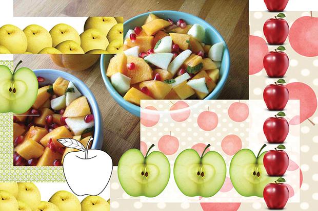 Салат с яблоком и хурмой