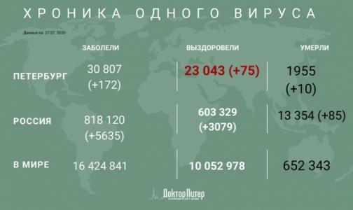 Фото №1 - Число заразившихся коронавирусом петербуржцев увеличилось на 172