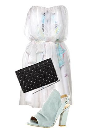 Платье, Tara Jarmon, 19 600 руб.; сумка, Aldo, 2990 руб.; босоножки, Ash, hotlook.ru, 9530 руб.