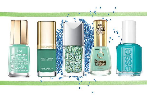 Лак для ногтей Aquamarine, Mavala; лак для ногтей Grass, Dolce & Gabbana; верхнее покрытие для ногтей Kingdom of Colors, Dior; лак для ногтей Gel-Effect, № 889, Dance Legend; лак для ногтей Blossom Dandy, Essie
