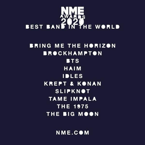 Фото №1 - NME AWARDS 2020: BTS могут стать лучшей группой в мире