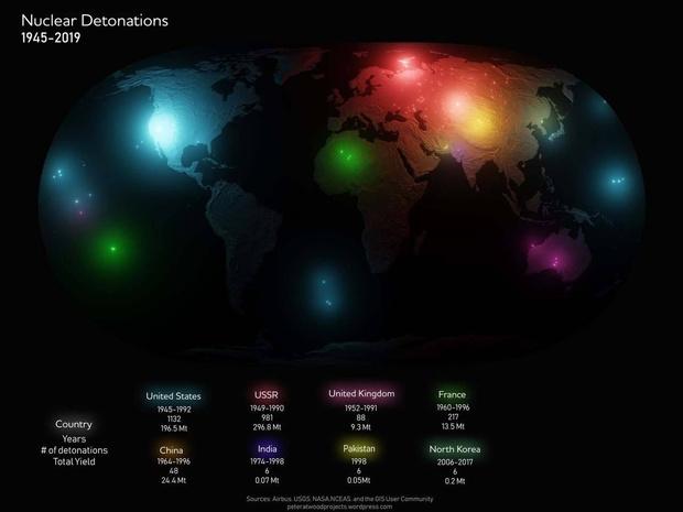 Фото №1 - Карта мира со всеми ядерными взрывами с 1945 по 2019 год