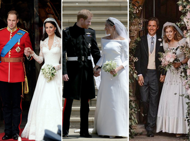 Фото №1 - Любовь или расчет: о чем говорит язык тела Кейт, Меган и Беатрис на их свадьбах