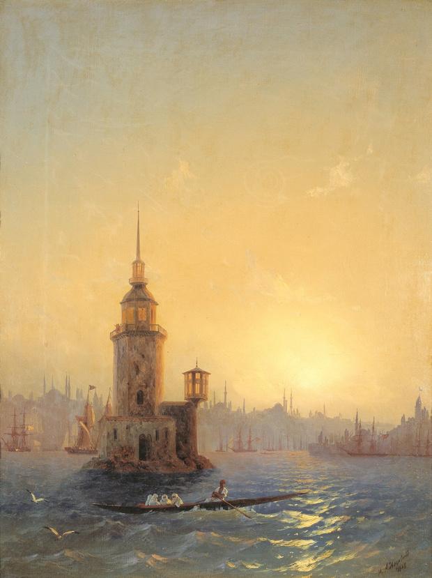 Вид Леандровой башни в Константинополе.
