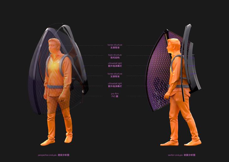 Фото №1 - Китайский дизайнер придумал «костюм индивидуальной защиты от коронавируса»