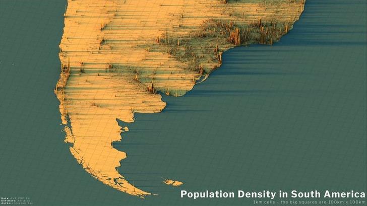 Фото №11 - Красивые трехмерные карты мира, показывающие распределение населения Земли