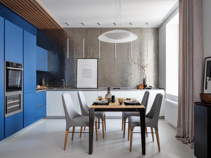 Фото №4 - Квартира 78 м² со стальной мозаикой на кухне