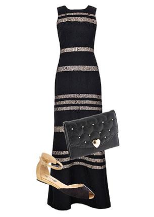 Платье, BCBGMAXAZRIA, 15 580 руб.; клатч, diva, 499 руб.; босоножки, Bétsy, yyees.com, 1390 руб.