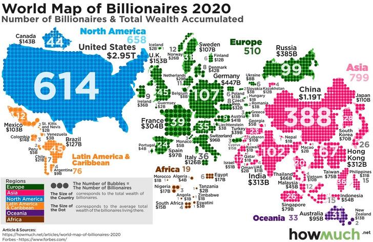 Фото №1 - Карта: сколько миллиардеров в каждой стране мира