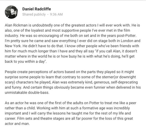 Фото №1 - Каст «Гарри Поттера» прощается с Аланом Рикманом