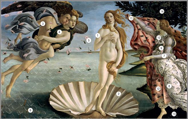 Фото №1 - 14 символов, зашифрованных в «Венере» Боттичелли