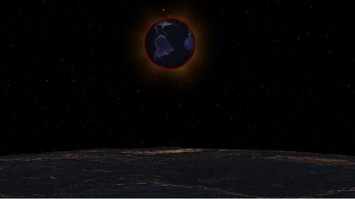 Фото №1 - NASA показало, как выглядит лунное затмение с Луны