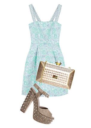 Платье, MAX & Co., 11 340 руб.; клатч, Love Moschino, 8863 руб.; босоножки, Ash, hotlook.ru, 9530 руб.