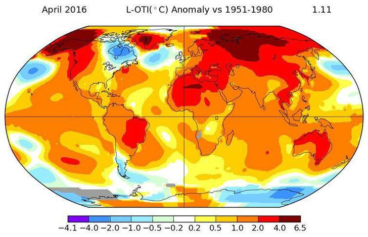 Фото №1 - Апрель 2016 года стал самым теплым в истории