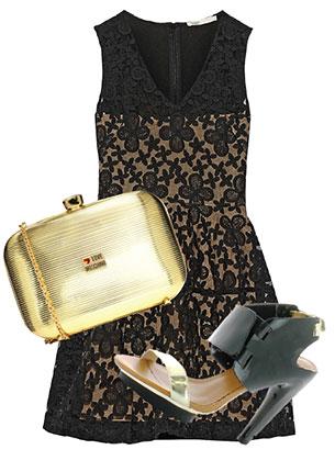 Платье, Maje, 12 776 руб.; клатч, Love Moschino, 9550 руб.; босоножки, United Nude, hotlook.ru, 7590 руб.