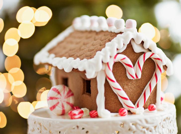 Фото №4 - Новогодние сладости: пряничный домик, снеговик из безе и полено