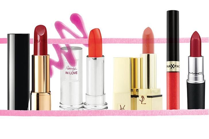 Губная помада Rouge Allure, Chanel; губная помада Rouge in Love, Lancome; губная помада Rouge Pur Couture, Yves Saint Laurent; губная помада Lipfinity, Max Factor; губная помада Ruby Woo, M.A.C