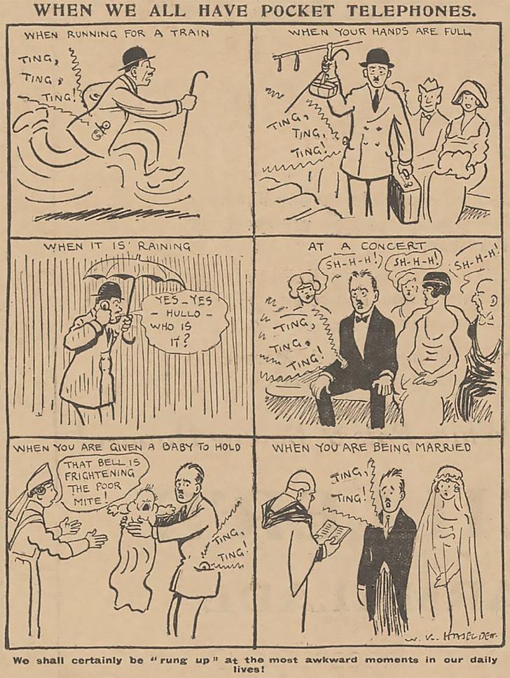 Фото №2 - Пророческая карикатура про мобильники из 1923 года
