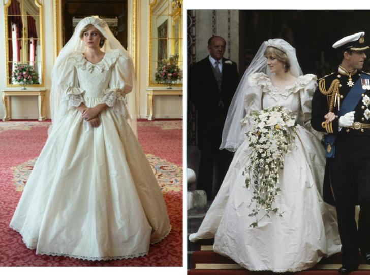 Фото №1 - Странная тиара и фата «из простыни»: поклонники раскритиковали свадебный образ Дианы в сериале «Корона»
