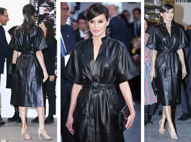 Фото №1 - 10 стильных кожаных платьев, как у королевы Летиции