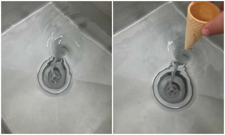 Фото №1 - Домашний эксперимент с раковиной и вафельным рожком (видео без слов)